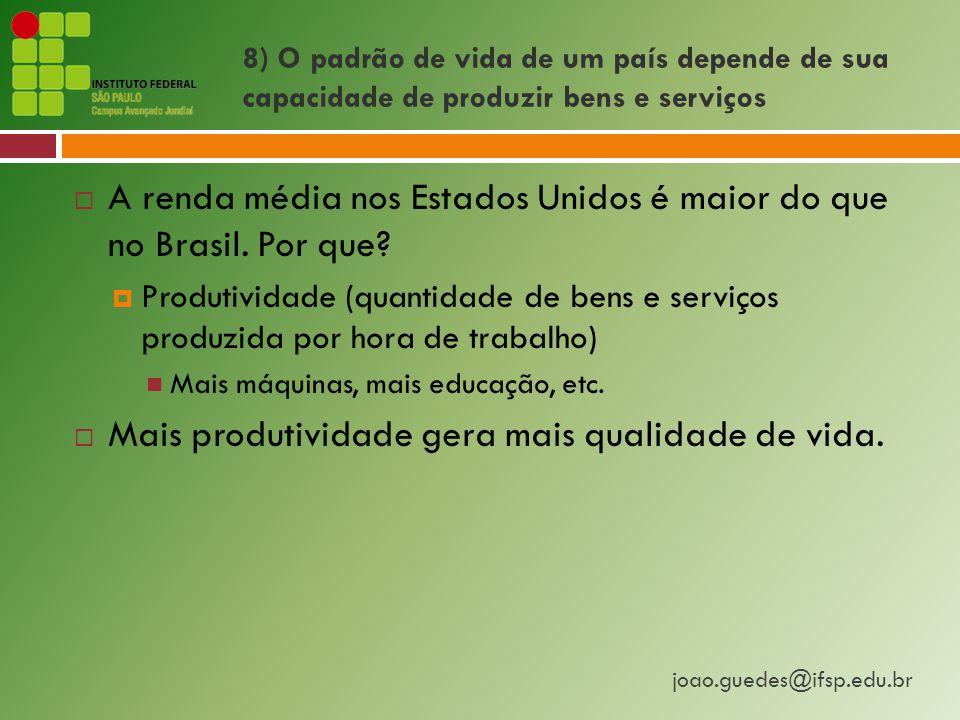 joao.guedes@ifsp.edu.br 8) O padrão de vida de um país depende de sua capacidade de produzir bens e serviços  A renda média nos Estados Unidos é maior do que no Brasil.