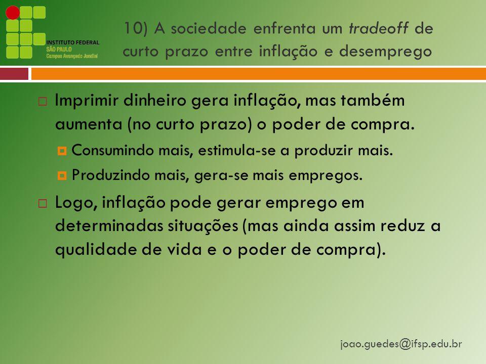joao.guedes@ifsp.edu.br 10) A sociedade enfrenta um tradeoff de curto prazo entre inflação e desemprego  Imprimir dinheiro gera inflação, mas também aumenta (no curto prazo) o poder de compra.