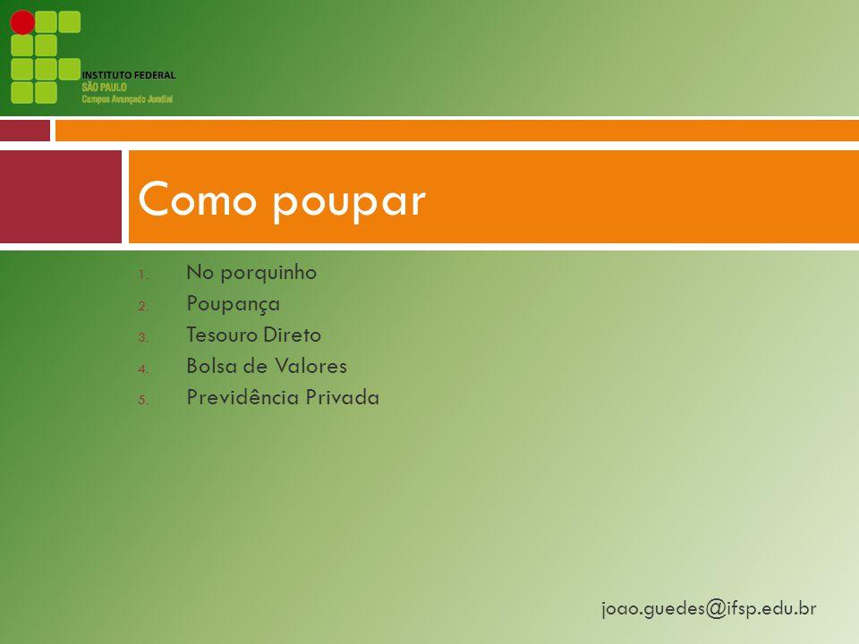 joao.guedes@ifsp.edu.br 1.No porquinho 2. Poupança 3.
