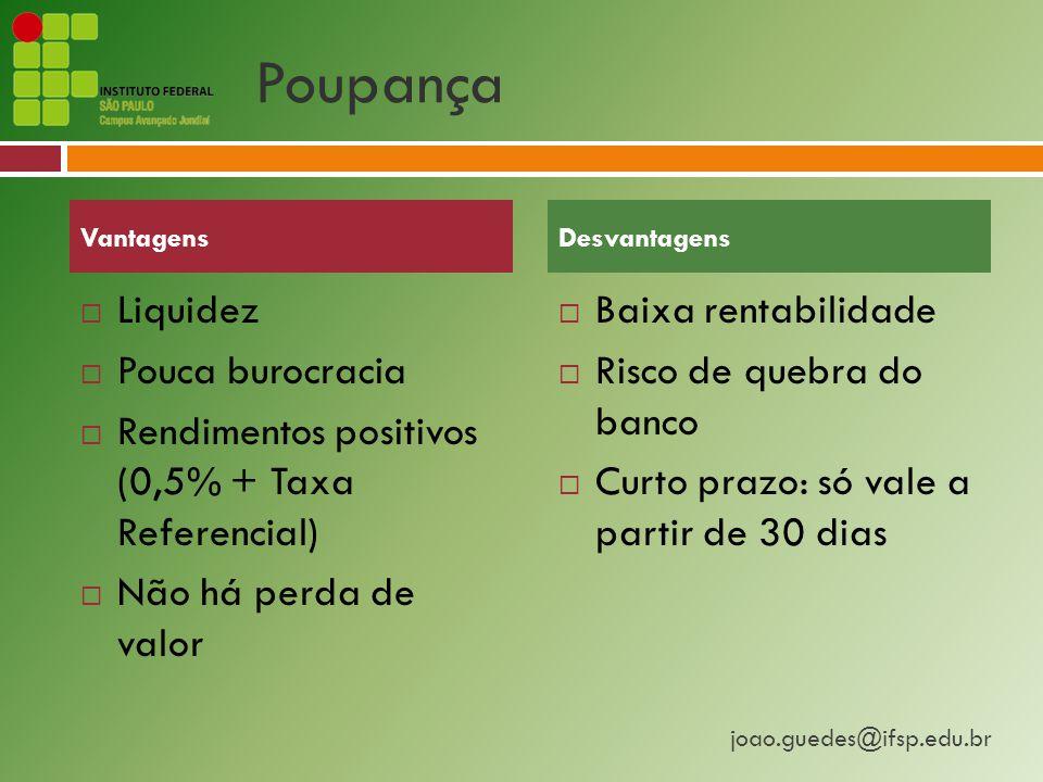 joao.guedes@ifsp.edu.br Poupança  Liquidez  Pouca burocracia  Rendimentos positivos (0,5% + Taxa Referencial)  Não há perda de valor  Baixa rentabilidade  Risco de quebra do banco  Curto prazo: só vale a partir de 30 dias VantagensDesvantagens