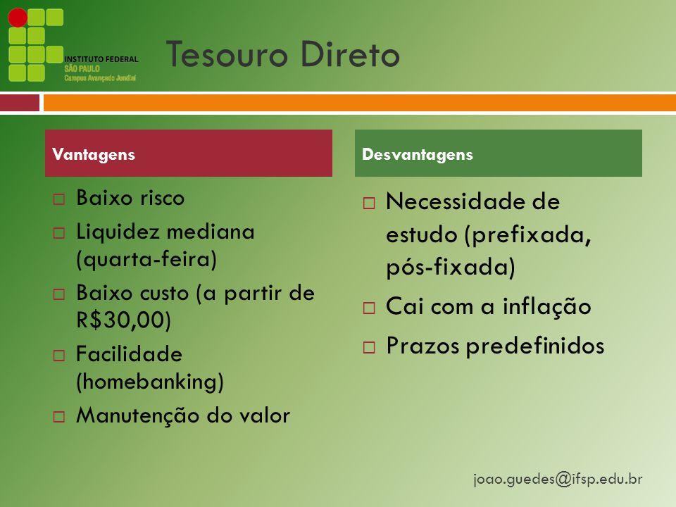 joao.guedes@ifsp.edu.br Tesouro Direto  Baixo risco  Liquidez mediana (quarta-feira)  Baixo custo (a partir de R$30,00)  Facilidade (homebanking)  Manutenção do valor  Necessidade de estudo (prefixada, pós-fixada)  Cai com a inflação  Prazos predefinidos VantagensDesvantagens