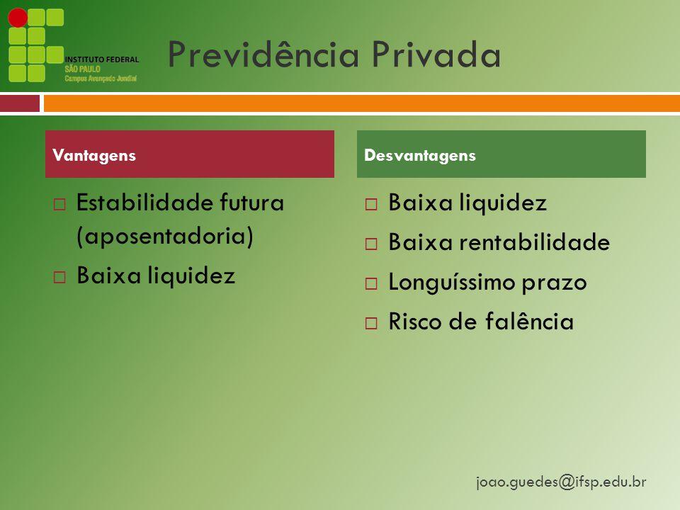 joao.guedes@ifsp.edu.br Previdência Privada  Estabilidade futura (aposentadoria)  Baixa liquidez  Baixa rentabilidade  Longuíssimo prazo  Risco de falência VantagensDesvantagens