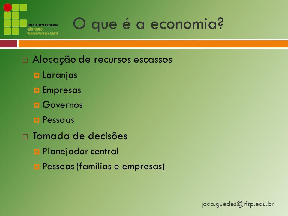 joao.guedes@ifsp.edu.br O que é a economia.