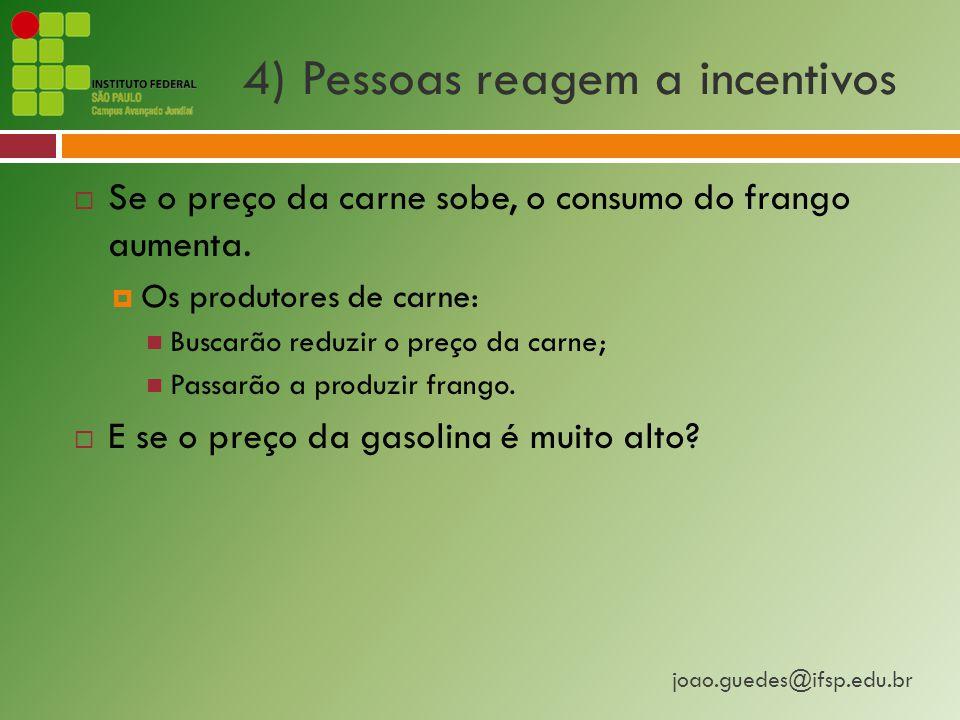 joao.guedes@ifsp.edu.br 4) Pessoas reagem a incentivos  Se o preço da carne sobe, o consumo do frango aumenta.