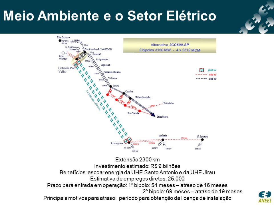 Meio Ambiente e o Setor Elétrico Extensão 2300 km Investimento estimado: R$ 9 bilhões Benefícios: escoar energia da UHE Santo Antonio e da UHE Jirau E