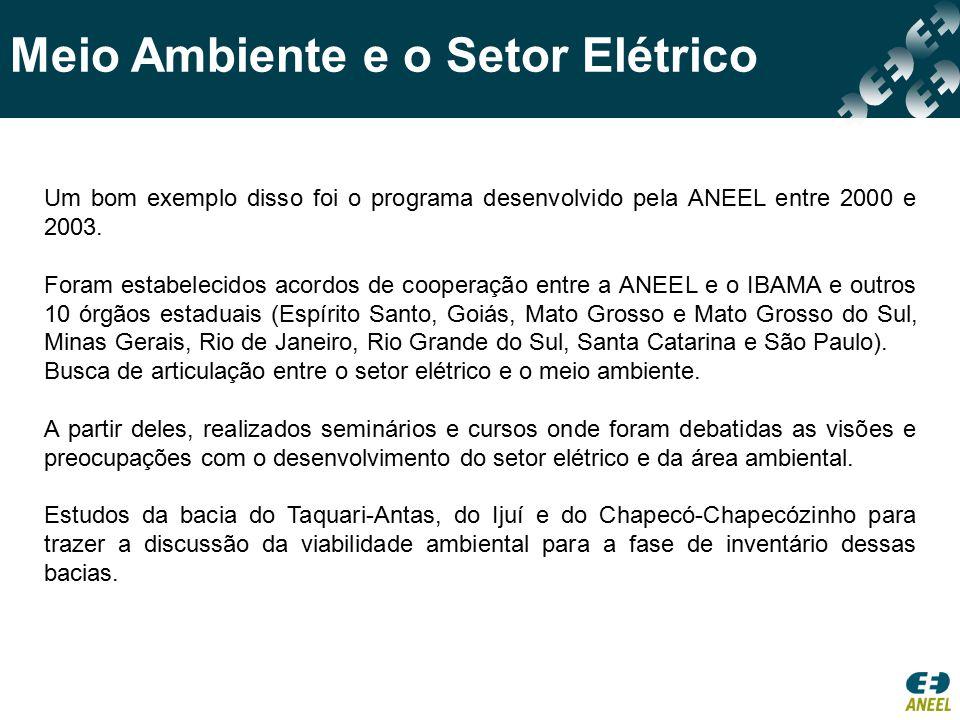 Meio Ambiente e o Setor Elétrico Um bom exemplo disso foi o programa desenvolvido pela ANEEL entre 2000 e 2003. Foram estabelecidos acordos de coopera