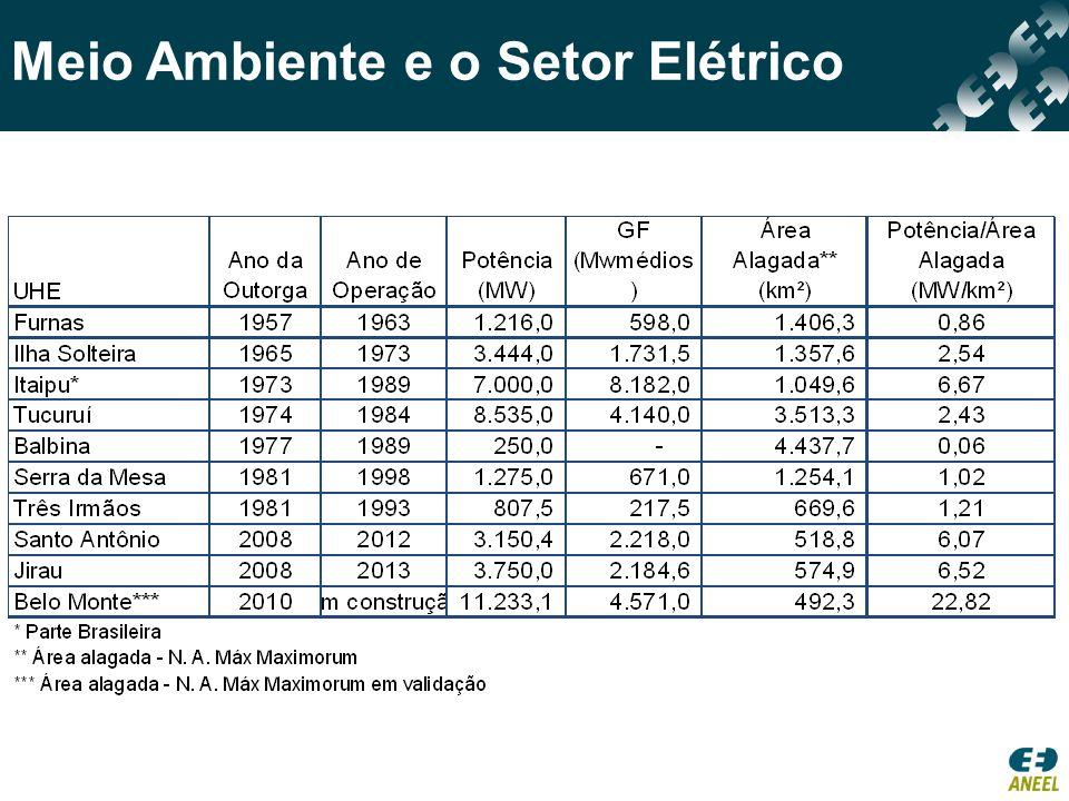 Meio Ambiente e o Setor Elétrico Extensão 2300 km Investimento estimado: R$ 9 bilhões Benefícios: escoar energia da UHE Santo Antonio e da UHE Jirau Estimativa de empregos diretos: 25.000 Prazo para entrada em operação: 1º bipolo: 54 meses – atraso de 16 meses 2º bipolo: 69 meses – atraso de 19 meses Principais motivos para atraso: período para obtenção da licença de instalação