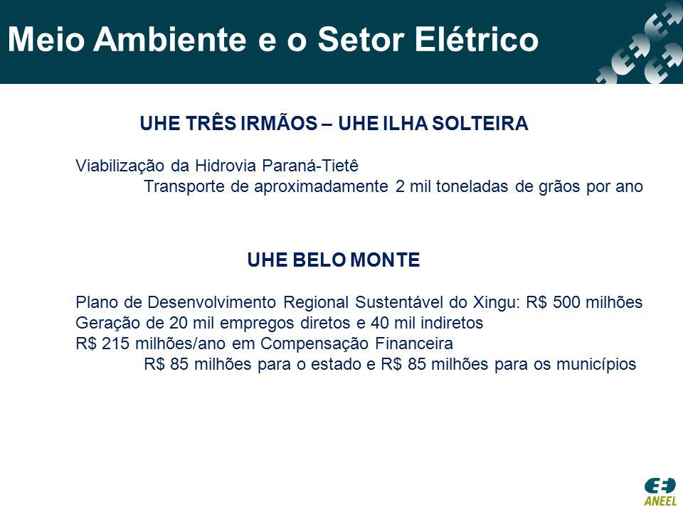 Meio Ambiente e o Setor Elétrico 182 UHE recolhem Compensação Financeira Em 2013: R$ 1,59 bilhão R$ 636 milhões distribuídos aos municípios R$ 636 milhões distribuídos aos estados R$ 176 milhões distribuídos a ANA R$ 42 milhões distribuídos ao MME R$ 42 milhões distribuídos ao MMA R$ 56 milhões distribuídos ao FNDCT Em alguns casos representa a maior parcela da arrecadação EXEMPLOS Compensação Financeira pela uso dos Recursos Hídricos para Geração de Energia Elétrica