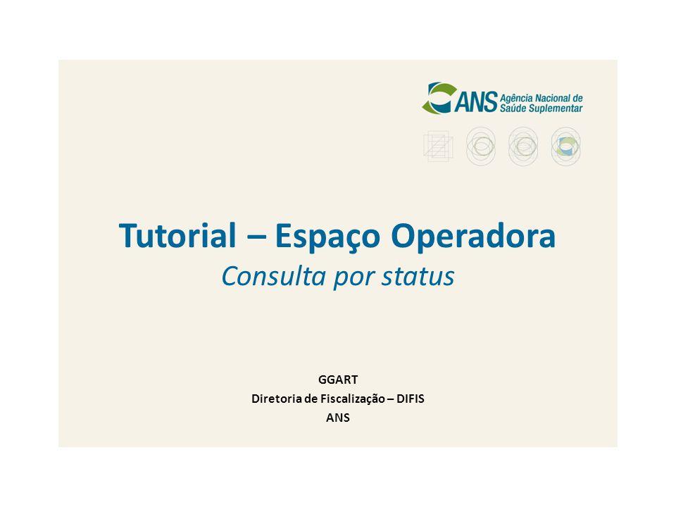 Tutorial – Espaço Operadora Consulta por status GGART Diretoria de Fiscalização – DIFIS ANS