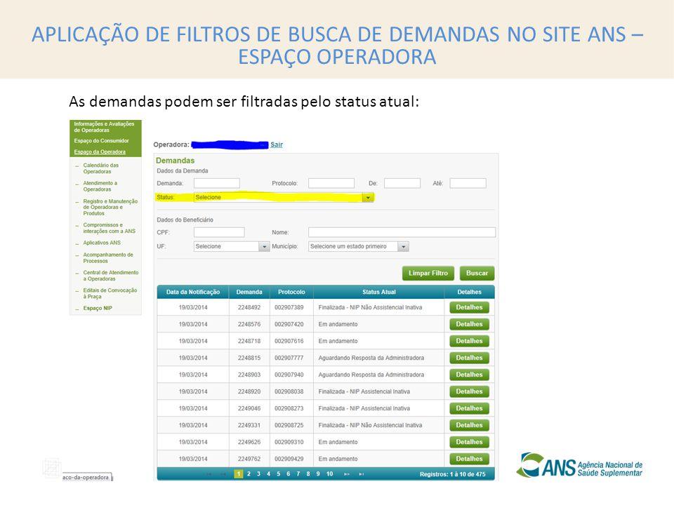 APLICAÇÃO DE FILTROS DE BUSCA DE DEMANDAS NO SITE ANS – ESPAÇO OPERADORA As demandas podem ser filtradas pelo status atual: