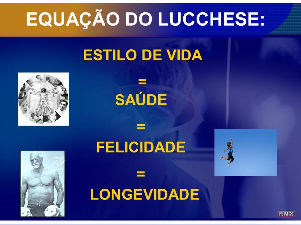 ESTILO DE VIDA = SAÚDE = FELICIDADE = LONGEVIDADE EQUAÇÃO DO LUCCHESE: