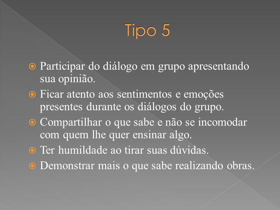  Participar do diálogo em grupo apresentando sua opinião.  Ficar atento aos sentimentos e emoções presentes durante os diálogos do grupo.  Comparti