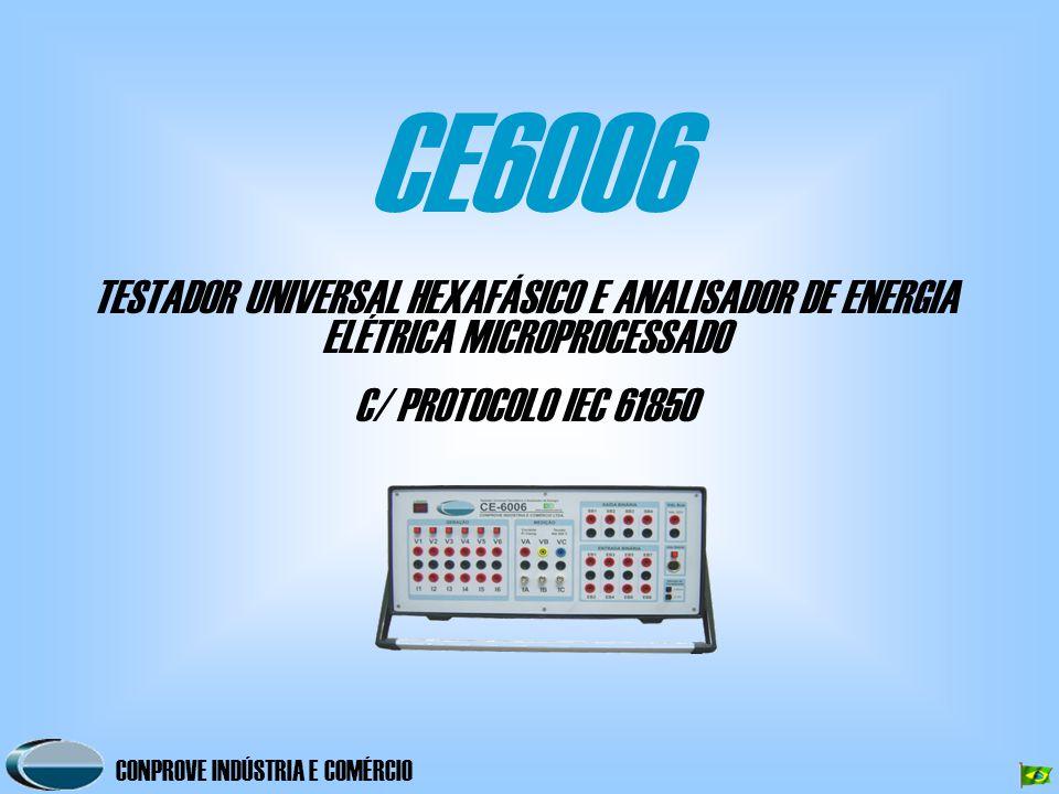 CONPROVE INDÚSTRIA E COMÉRCIO CE6006 TESTADOR UNIVERSAL HEXAFÁSICO E ANALISADOR DE ENERGIA ELÉTRICA MICROPROCESSADO C/ PROTOCOLO IEC 61850