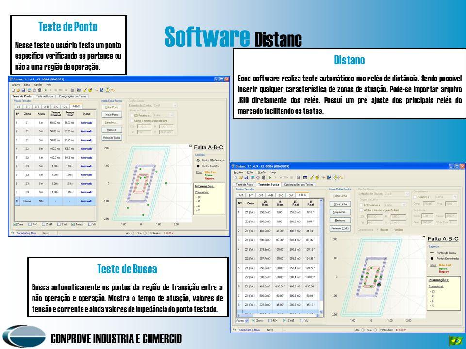 CONPROVE INDÚSTRIA E COMÉRCIO Software Distanc Teste de Ponto Nesse teste o usuário testa um ponto específico verificando se pertence ou não a uma reg