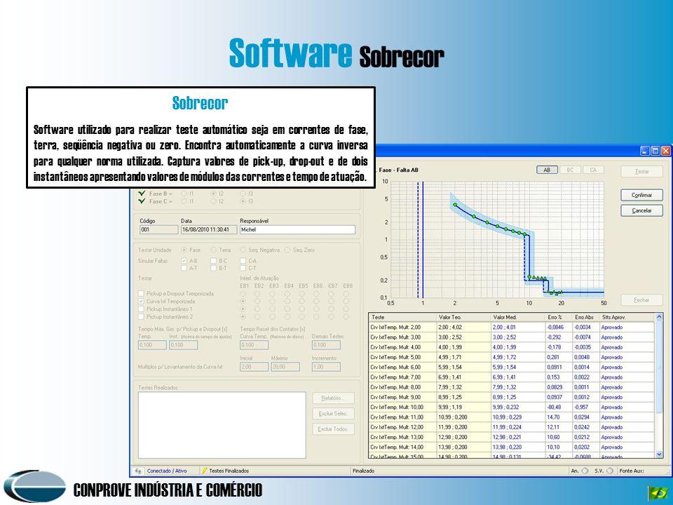 CONPROVE INDÚSTRIA E COMÉRCIO Software Sobrecor Sobrecor Software utilizado para realizar teste automático seja em correntes de fase, terra, seqüência negativa ou zero.