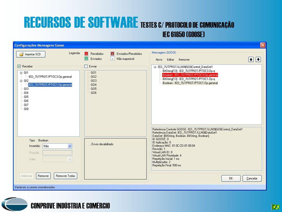 CONPROVE INDÚSTRIA E COMÉRCIO RECURSOS DE SOFTWARE TESTES C/ PROTOCOLO DE COMUNICAÇÂO IEC 61850 (GOOSE)