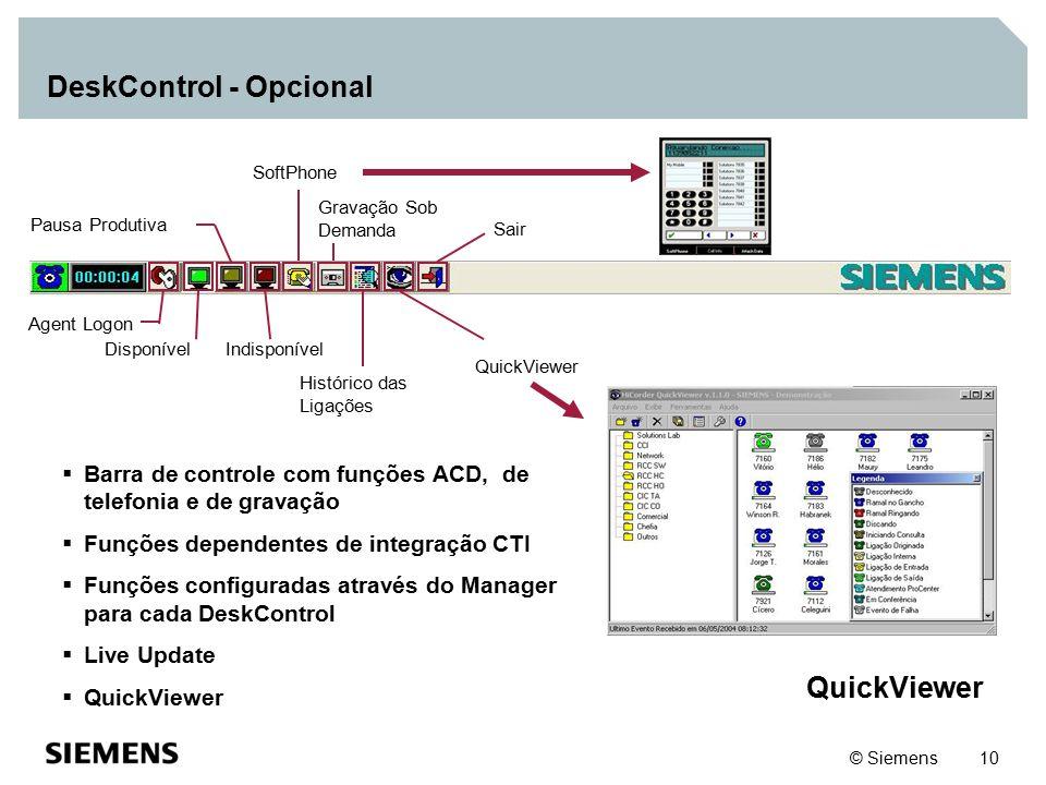© Siemens 10 DeskControl - Opcional  Barra de controle com funções ACD, de telefonia e de gravação  Funções dependentes de integração CTI  Funções