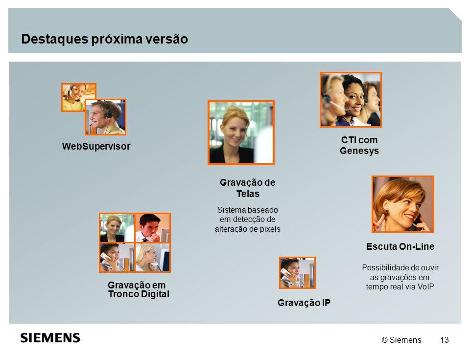© Siemens 13 Destaques próxima versão WebSupervisor Gravação em Tronco Digital CTI com Genesys Escuta On-Line Possibilidade de ouvir as gravações em t