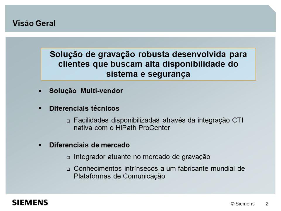 © Siemens 2 Visão Geral Solução de gravação robusta desenvolvida para clientes que buscam alta disponibilidade do sistema e segurança  Solução Multi-
