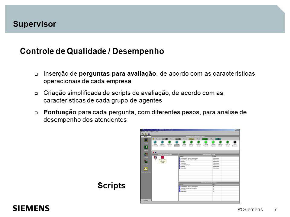 © Siemens 8 Supervisor QuickSearch  QuickSearch: Módulo de procura de gravação Filtros por (busca):  Hora  Data  Tipo  Ramal  Agente  Call Type  ANI  DNIS StudioPlayer  Escuta das gravações