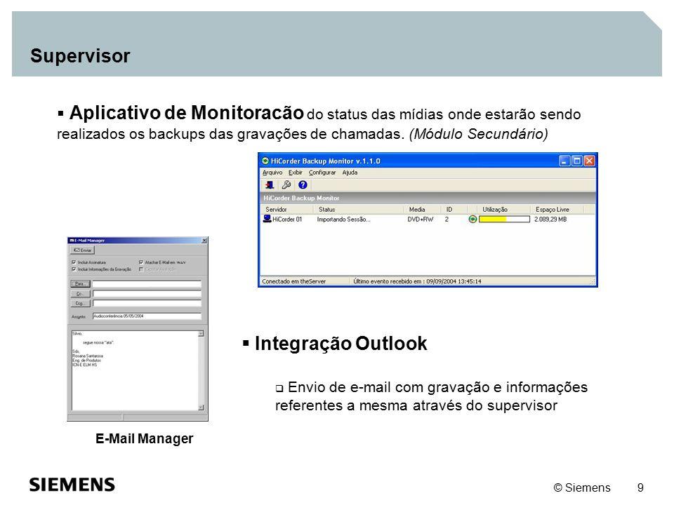 © Siemens 9  Aplicativo de Monitoracão do status das mídias onde estarão sendo realizados os backups das gravações de chamadas. (Módulo Secundário) 