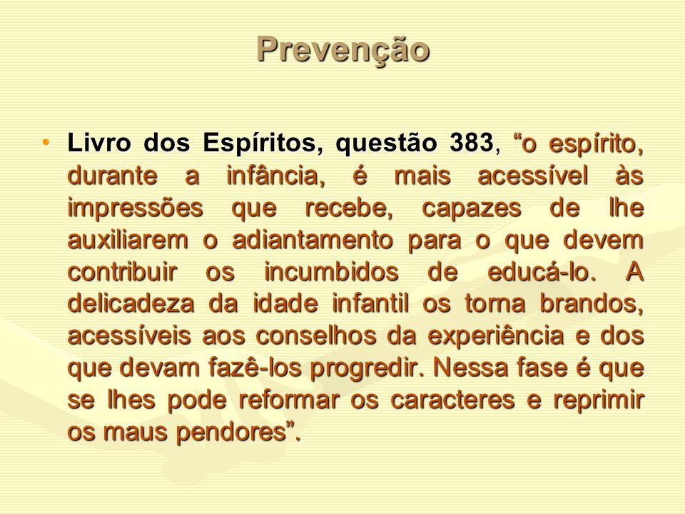 Prevenção A doutrina espírita pode auxiliar no tratamento preventivo e terapêutico da dependência. Prevenção - através das aulas de evangelização, esc