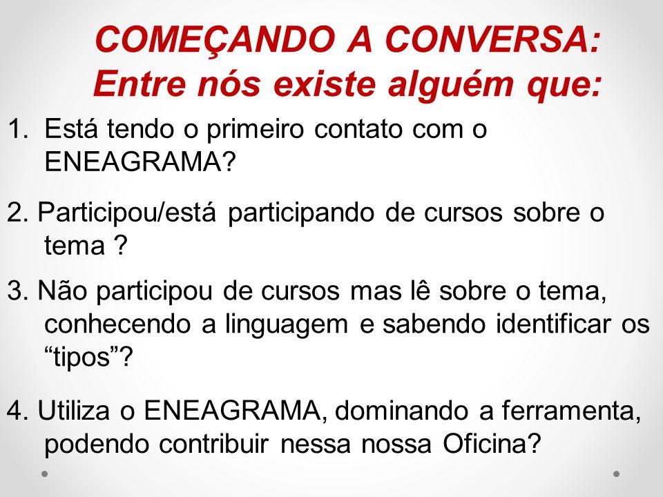 COMEÇANDO A CONVERSA: Entre nós existe alguém que: 1.Está tendo o primeiro contato com o ENEAGRAMA.