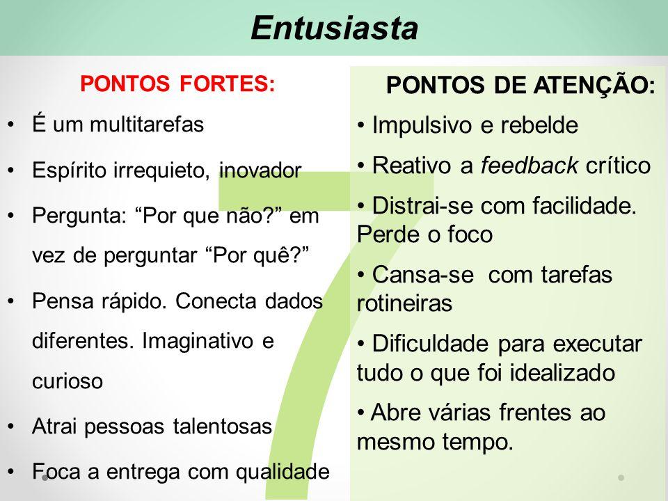 7 Entusiasta PONTOS DE ATENÇÃO: Impulsivo e rebelde Reativo a feedback crítico Distrai-se com facilidade.