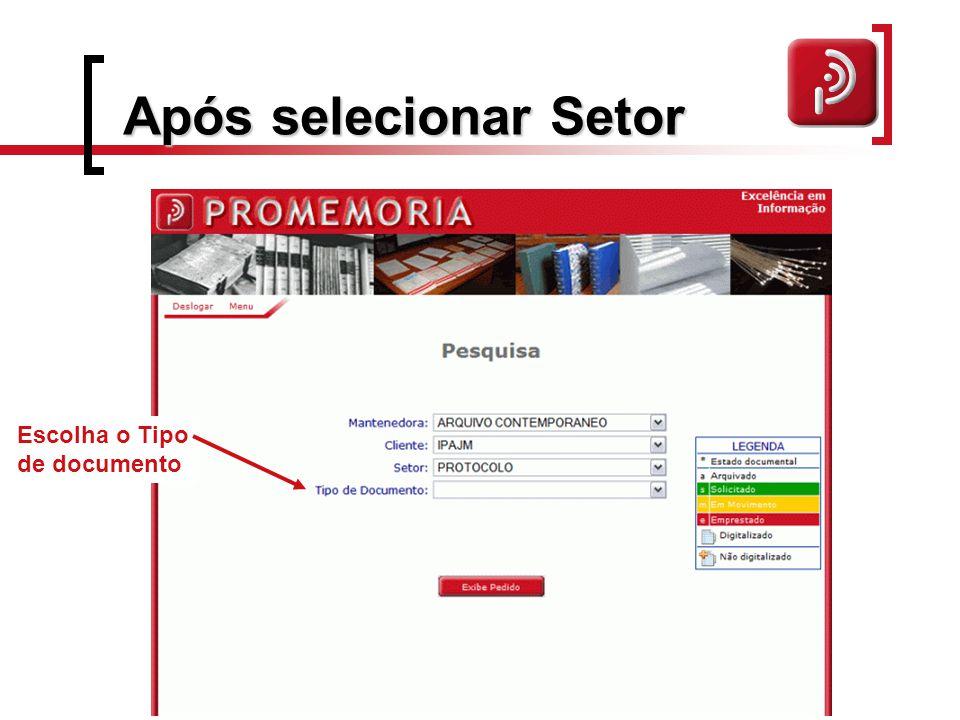 Após selecionar Setor Escolha o Tipo de documento