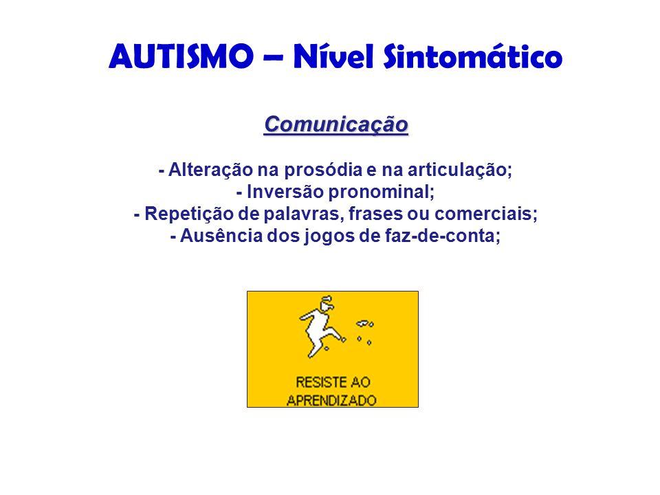 AUTISMO – Nível Sintomático Comunicação Comunicação - Alteração na prosódia e na articulação; - Inversão pronominal; - Repetição de palavras, frases ou comerciais; - Ausência dos jogos de faz-de-conta;