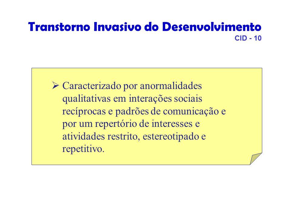 Transtorno Invasivo do Desenvolvimento CID - 10  Caracterizado por anormalidades qualitativas em interações sociais recíprocas e padrões de comunicação e por um repertório de interesses e atividades restrito, estereotipado e repetitivo.