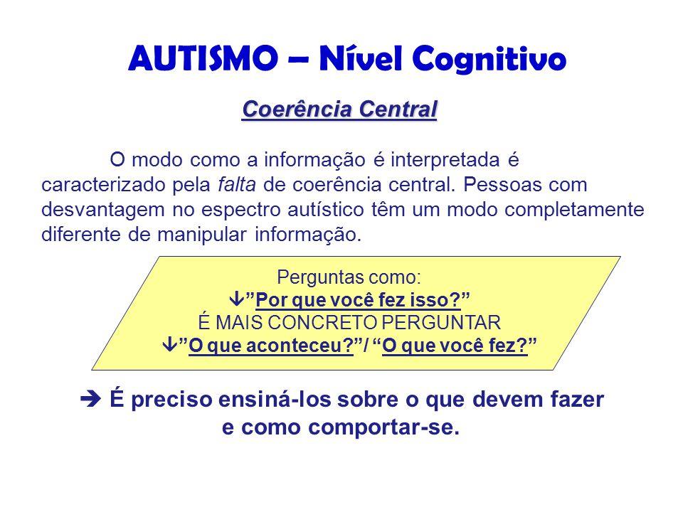 O modo como a informação é interpretada é caracterizado pela falta de coerência central.