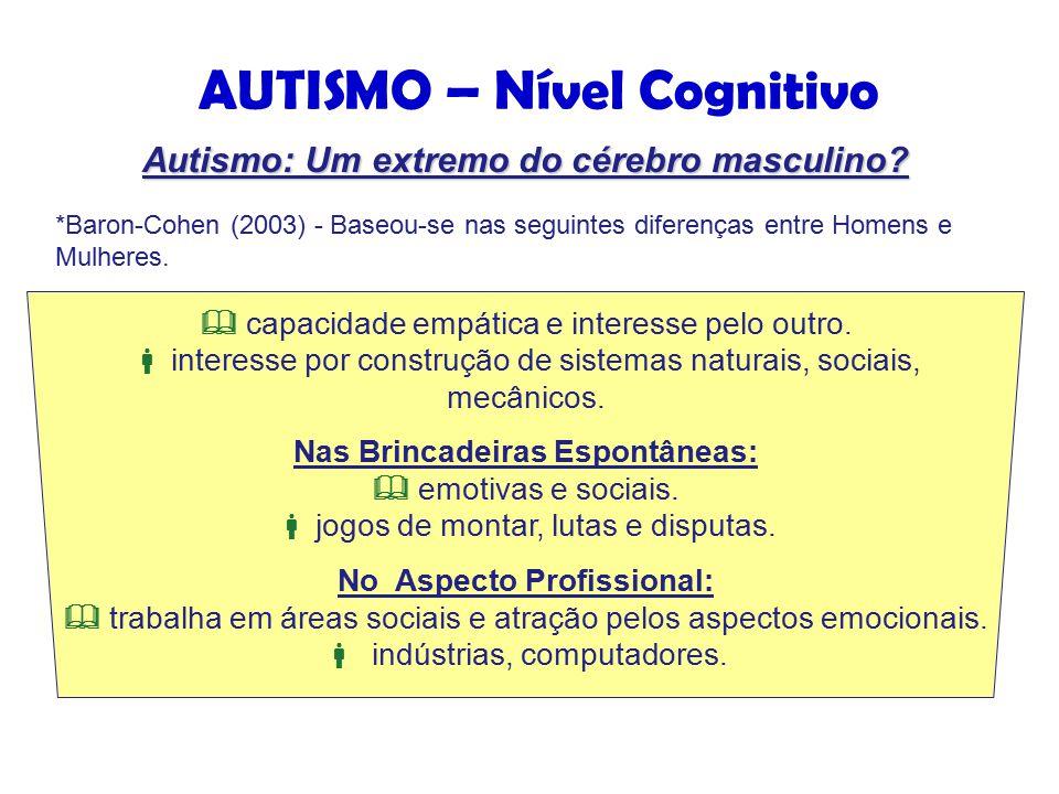 AUTISMO – Nível Cognitivo *Baron-Cohen (2003) - Baseou-se nas seguintes diferenças entre Homens e Mulheres.