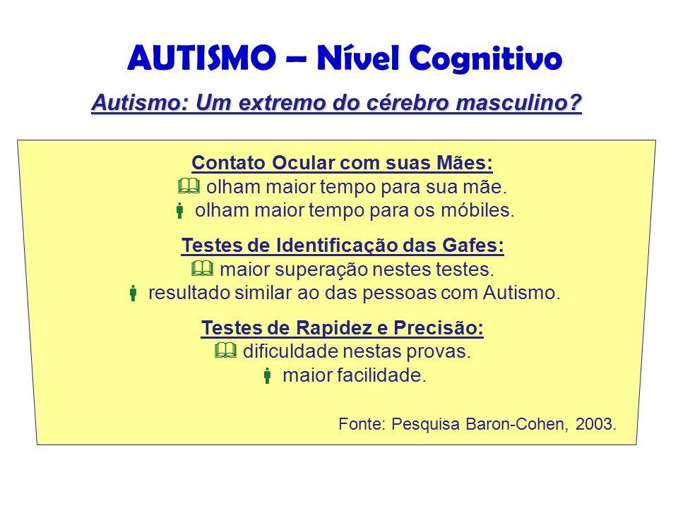 AUTISMO – Nível Cognitivo Contato Ocular com suas Mães:  olham maior tempo para sua mãe.