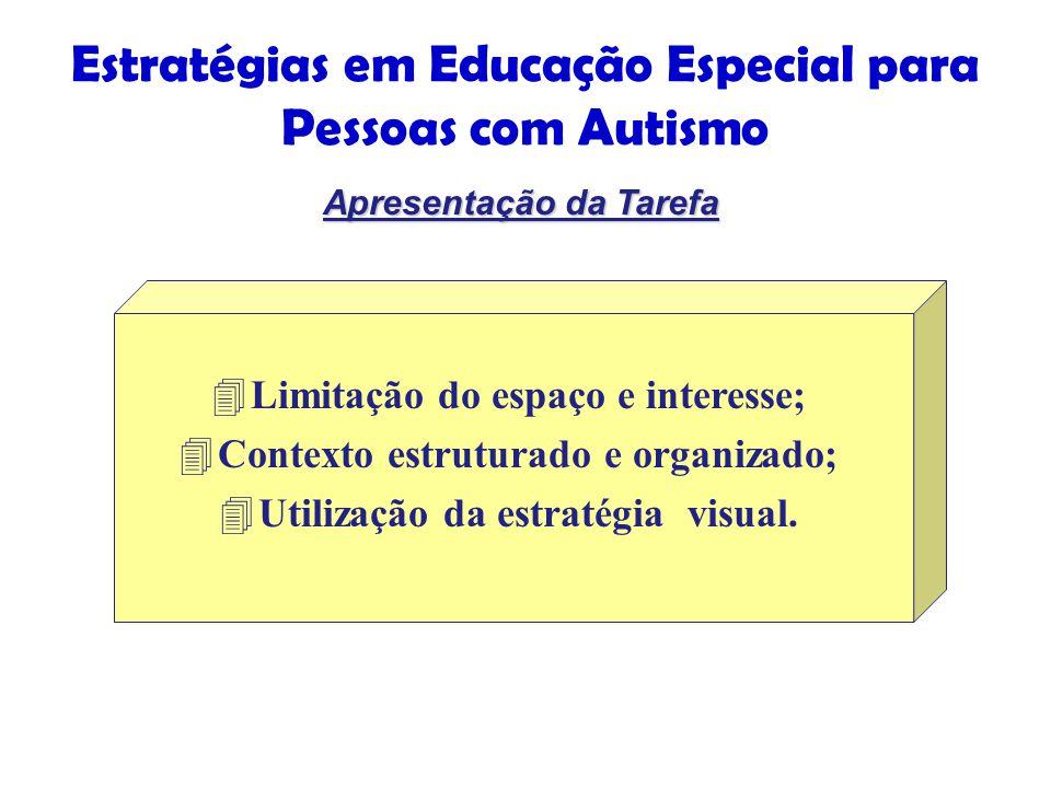 Estratégias em Educação Especial para Pessoas com Autismo 4Limitação do espaço e interesse; 4Contexto estruturado e organizado; 4Utilização da estratégia visual.