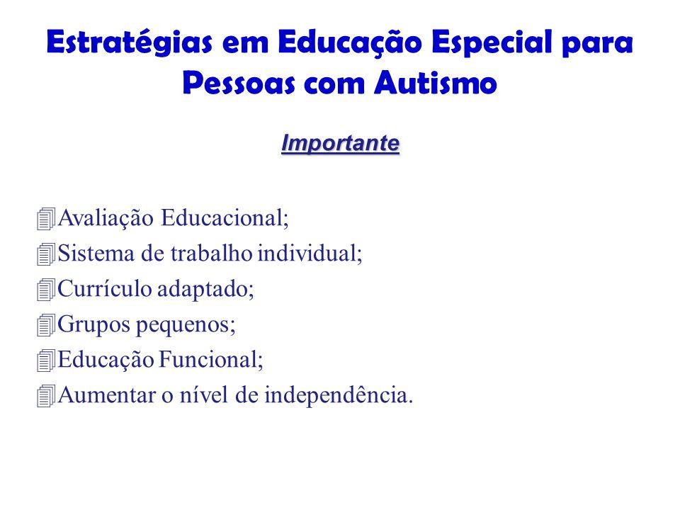Estratégias em Educação Especial para Pessoas com AutismoImportante 4Avaliação Educacional; 4Sistema de trabalho individual; 4Currículo adaptado; 4Grupos pequenos; 4Educação Funcional;  Aumentar o nível de independência.