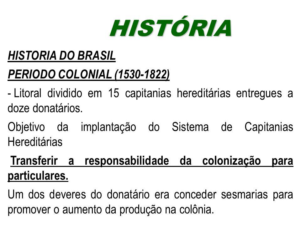 HISTÓRIAHISTÓRIA HISTORIA DO BRASIL PERIODO COLONIAL (1530-1822) - Litoral dividido em 15 capitanias hereditárias entregues a doze donatários. Objetiv