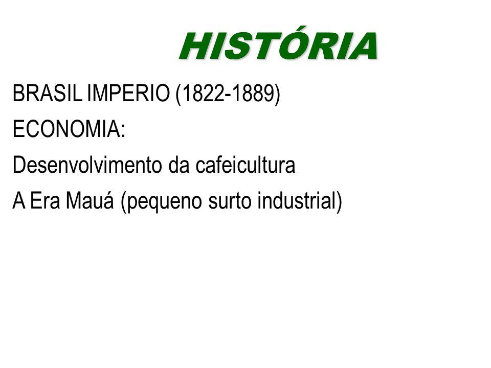 BRASIL IMPERIO (1822-1889) ECONOMIA: Desenvolvimento da cafeicultura A Era Mauá (pequeno surto industrial) HISTÓRIAHISTÓRIA