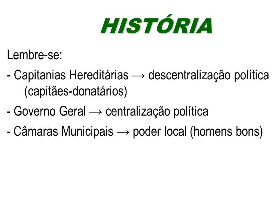Lembre-se: - Capitanias Hereditárias → descentralização política (capitães-donatários) - Governo Geral → centralização política - Câmaras Municipais →