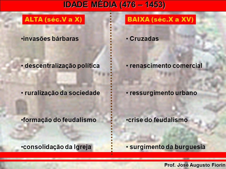 IDADE MÉDIA (476 – 1453) Prof. José Augusto Fiorin ALTA (séc.V a X) invasões bárbaras descentralização política ruralização da sociedade formação do f