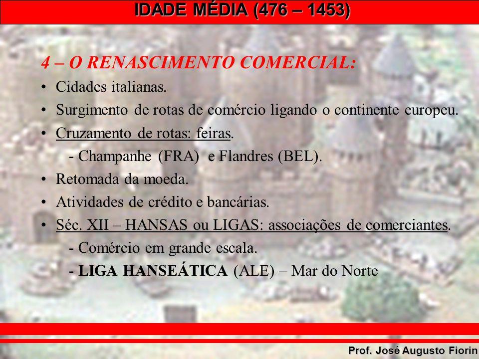 IDADE MÉDIA (476 – 1453) Prof. José Augusto Fiorin 4 – O RENASCIMENTO COMERCIAL: Cidades italianas. Surgimento de rotas de comércio ligando o continen