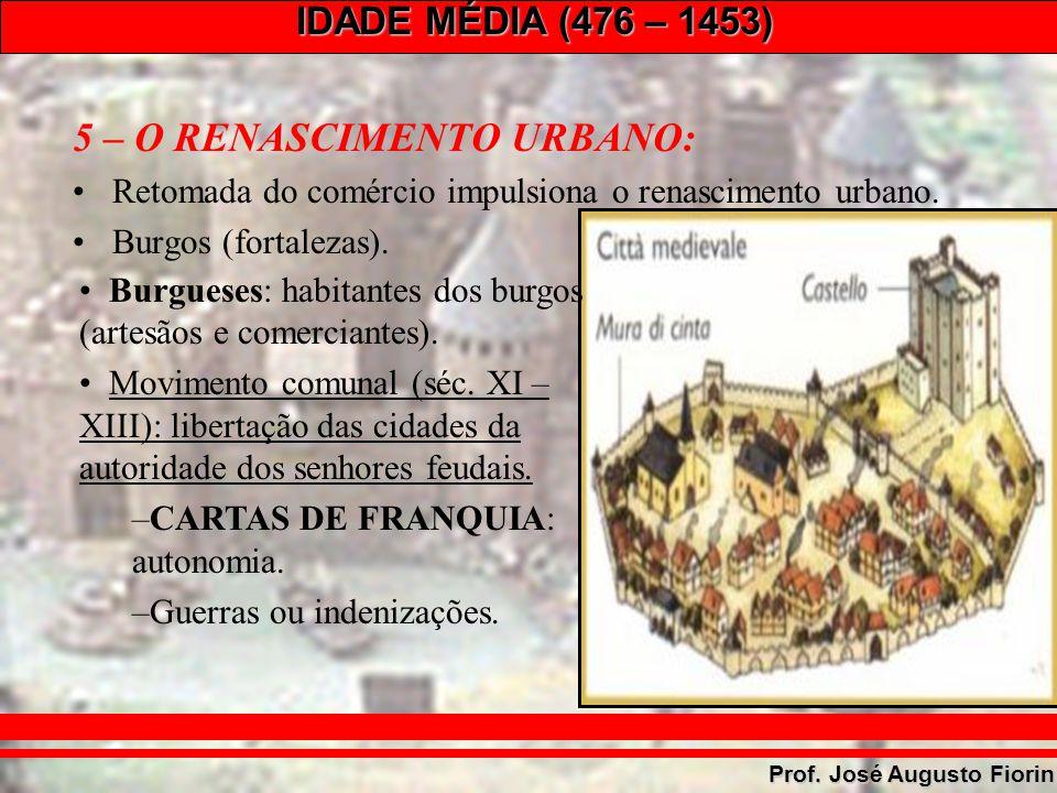 IDADE MÉDIA (476 – 1453) Prof. José Augusto Fiorin 5 – O RENASCIMENTO URBANO: Retomada do comércio impulsiona o renascimento urbano. Burgos (fortaleza