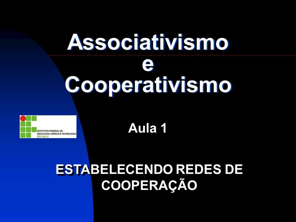 Associativismo e Cooperativismo Aula 1 ESTABELECENDO REDES DE COOPERAÇÃO