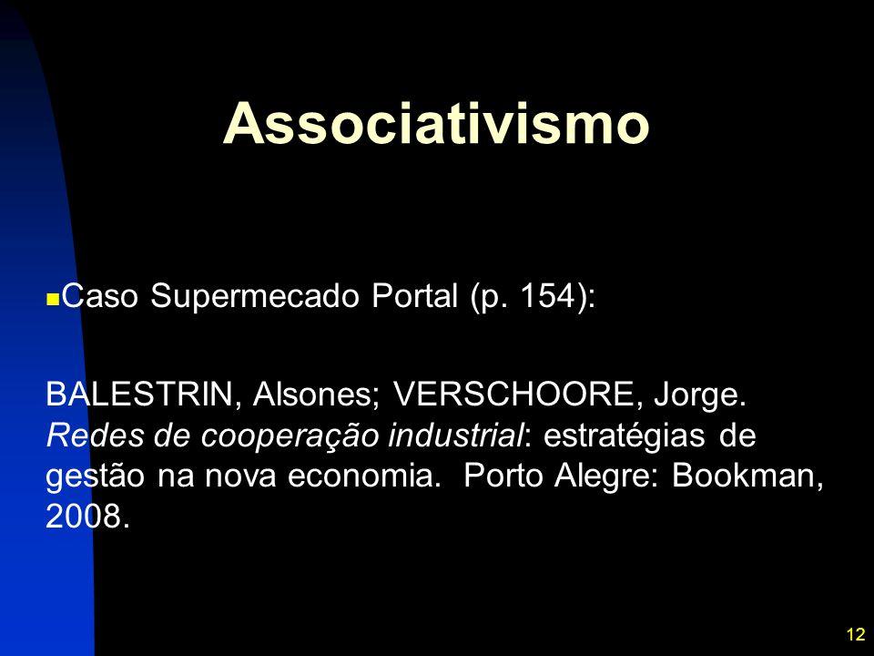 12 Associativismo Caso Supermecado Portal (p. 154): BALESTRIN, Alsones; VERSCHOORE, Jorge. Redes de cooperação industrial: estratégias de gestão na no