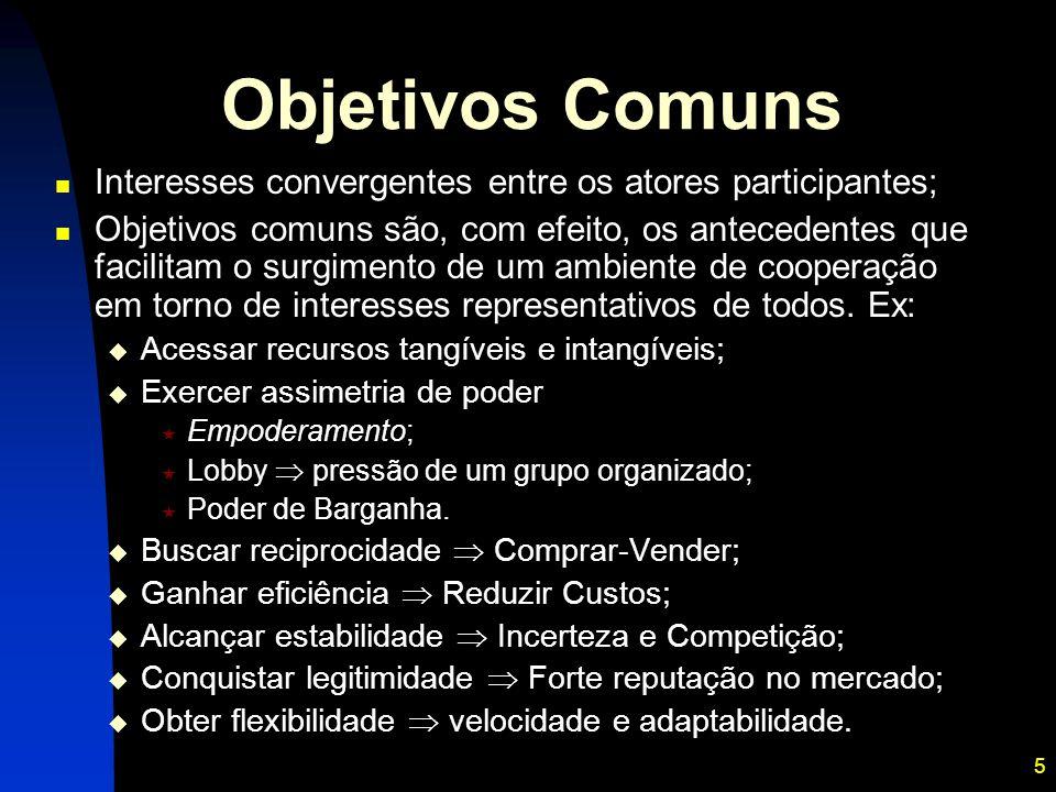 5 Objetivos Comuns Interesses convergentes entre os atores participantes; Objetivos comuns são, com efeito, os antecedentes que facilitam o surgimento