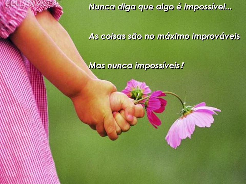 Nunca diga que algo é impossível...As coisas são no máximo improváveis Mas nunca impossíveis .