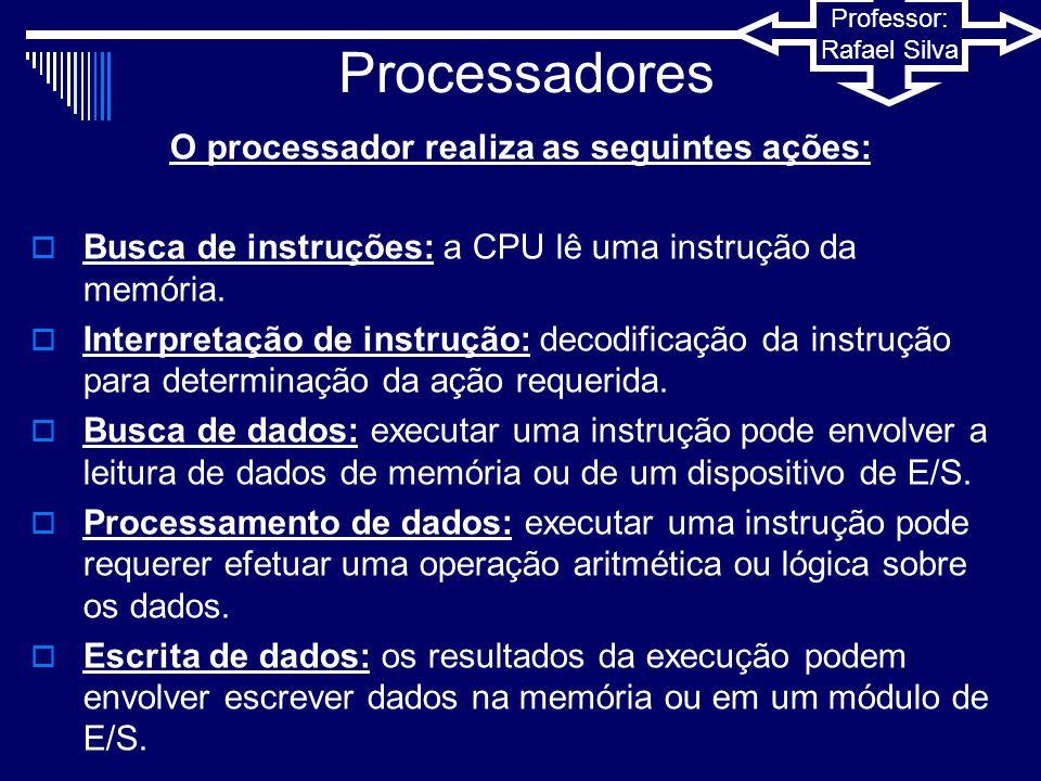Professor: Rafael Silva Processadores  Dentro da CPU existe um conjunto de registradores que tem duas funções:  Possibilitar ao programador de linguagem de montagem ou de máquina minimizar referências à memória.