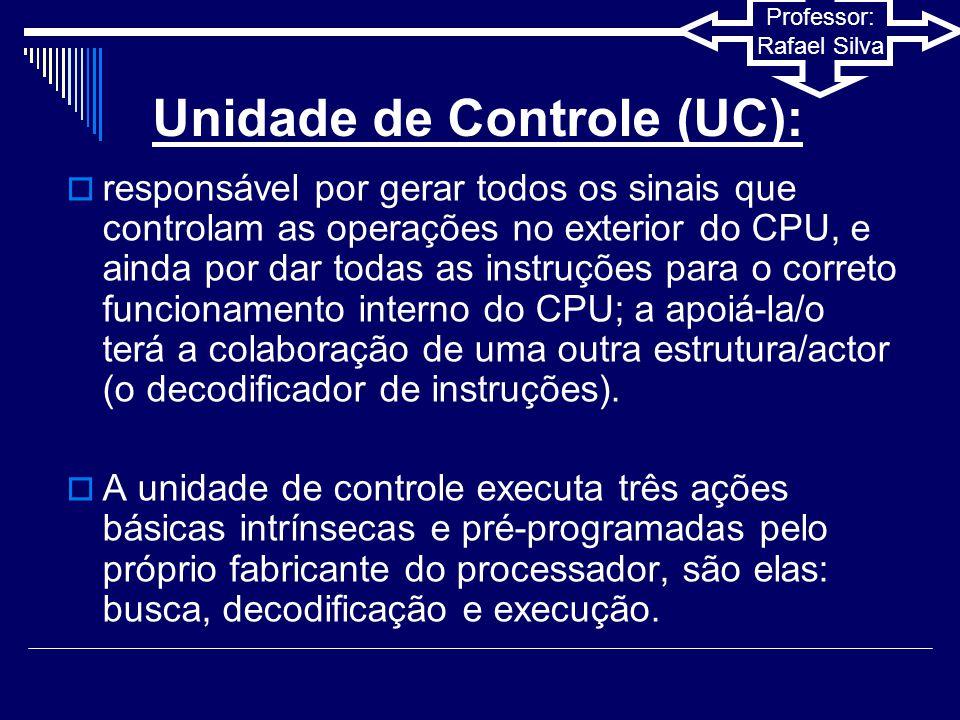 Professor: Rafael Silva Clock  Faz a sincronização dos componentes do computador (processador, memória, placa mãe).