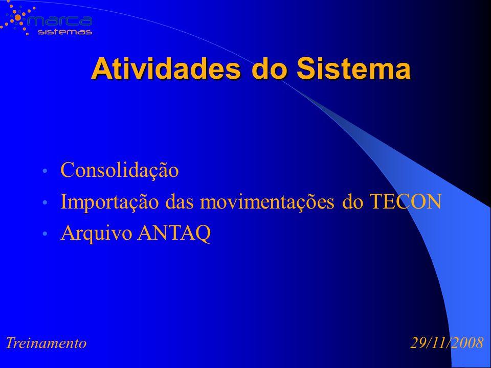 Atividades do Sistema Atividades do Sistema Consolidação Importação das movimentações do TECON Arquivo ANTAQ Treinamento 29/11/2008