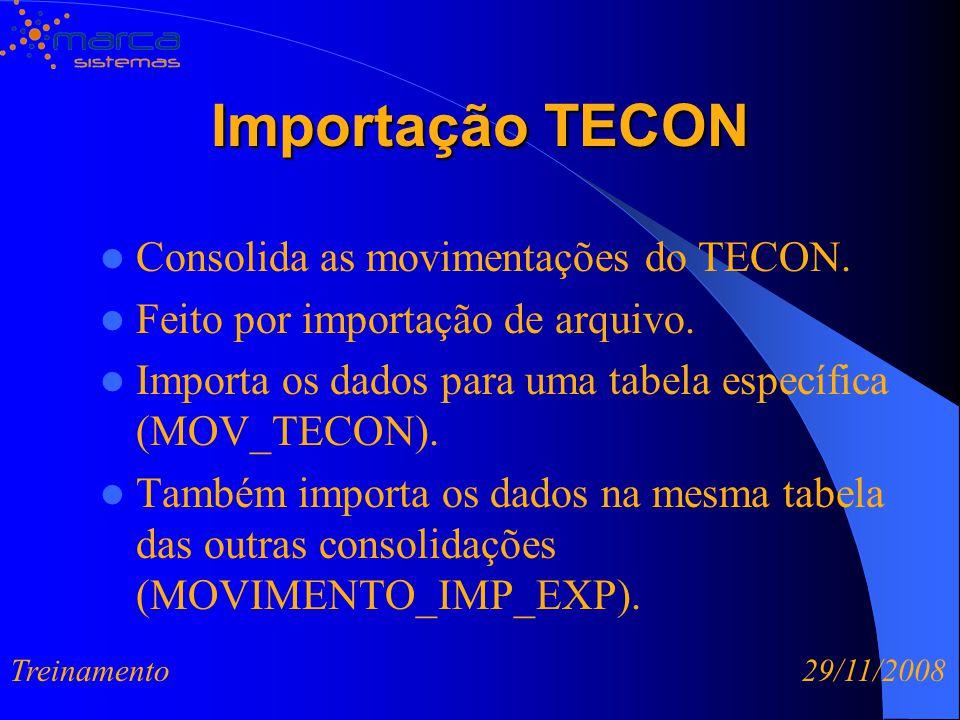 Importação TECON Consolida as movimentações do TECON.